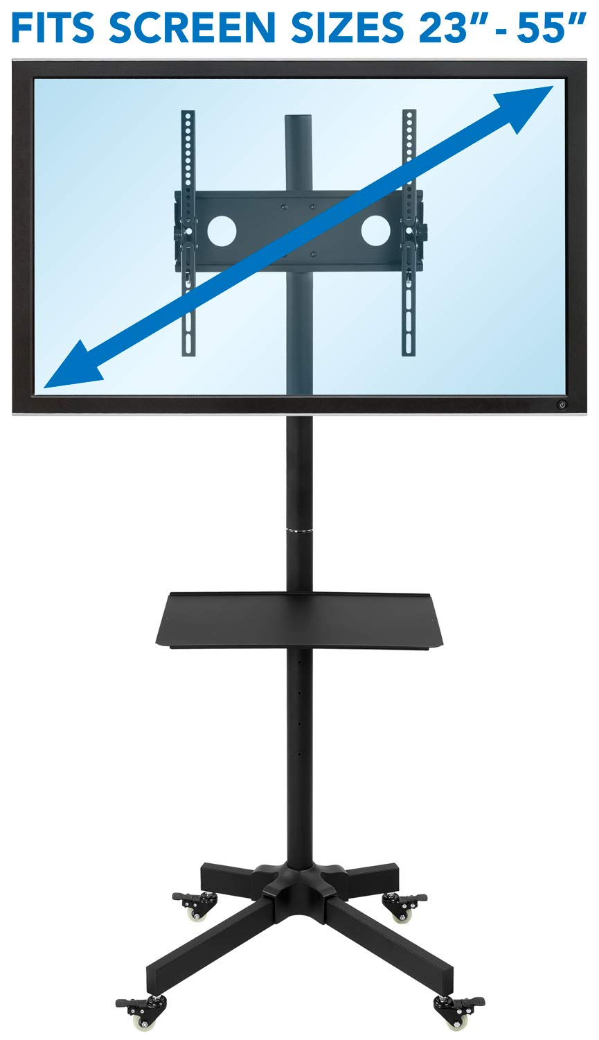 MI-873 TV Cart Mobile TV Stand with Mount and AV Shelves Mount-It ...
