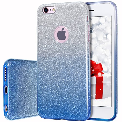 iPhone 6s plus/6 Plus Case, MILPROX Bling Glitter Pretty sparkle 3 Layer Hybrid Anti-Slick / Protective / Soft slim TPU Case for girls / women iPhone 6s plus / 6 Plus- Blue Silver