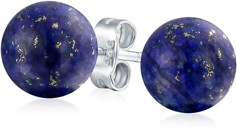 Azul Oscuro Lapislázuli Piedras Preciosa Pendiente Boton Bocírculo Redondo Mujer Y Para Hombres Plata Esterlina 925 8Mm