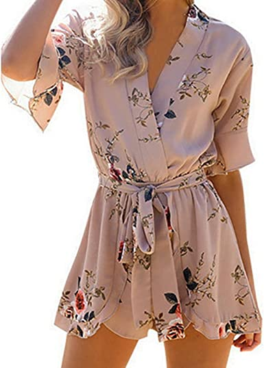 Clearance Cuekondy Women Summer Off Shoulder Floral Printed Long Jumpsuit Romper Ladies Casual Party Clubwear Playsuit