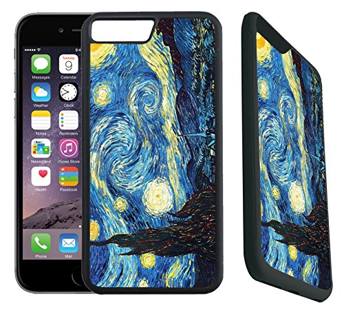 - [TeleSkins] - Rubber Designer Case For iPhone 7 Plus/iPhone 8 Plus - Vincent Van Gogh The Starry Night - Ultra Durable Slim Fit, Protective Plastic with Soft RUBBER TPU Snap On Back Case/Cover.