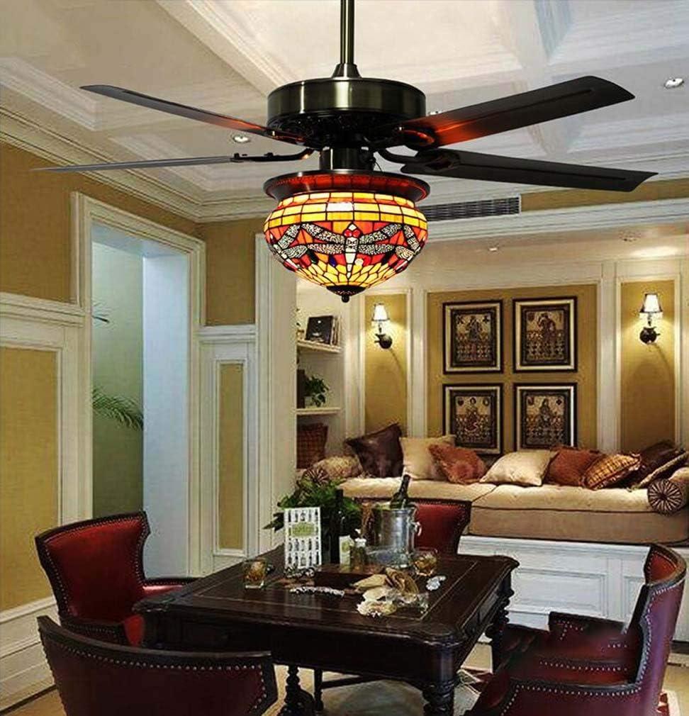 Juego de luces para ventilador de techo, estilo Tiffany, lámpara ...