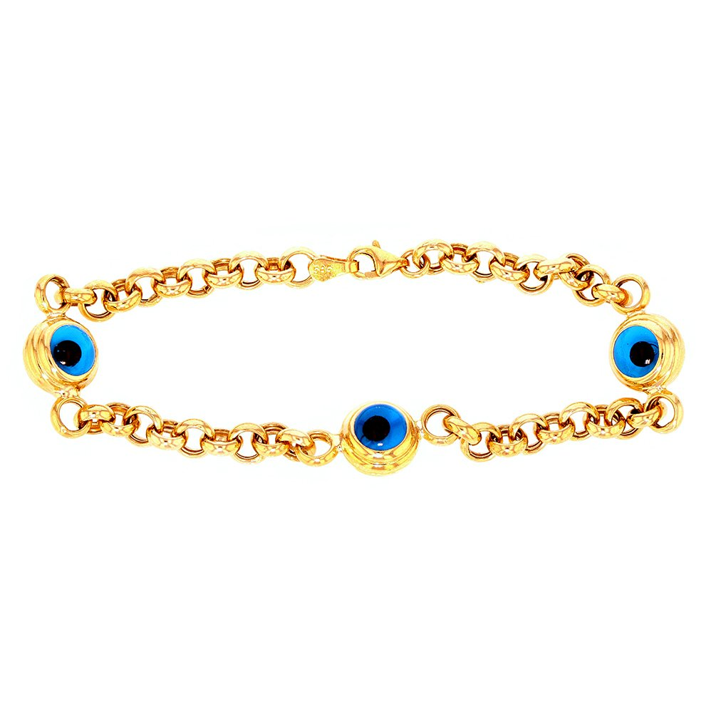 Solid 14k Yellow Gold Blue Evil Eye Chain Link Bracelet, 8''