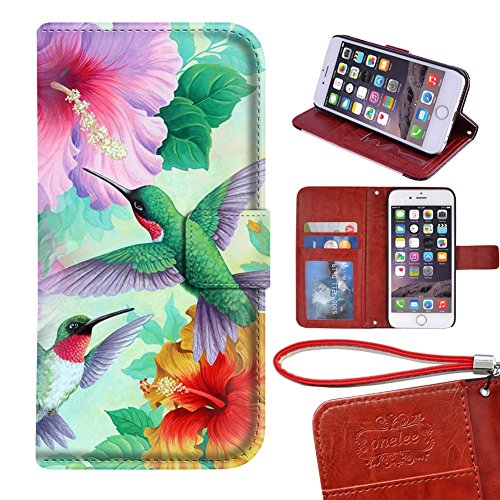 DOFIRI iPhone 6 / 6s Plus Case, Card Slots PU Leather Hummingbird iPhone 6 / 6s Plus Wallet case