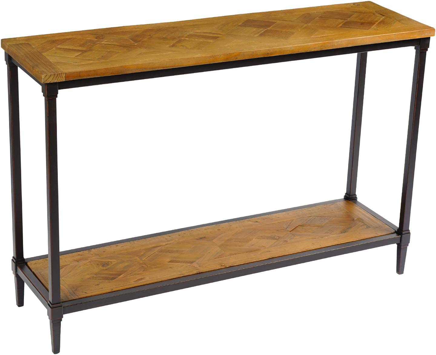 Solid Wood Farmhouse Console Table-Rustic Entryway Table - Hall Way Table with Storage - 2 Tier Industrial Foyer Tables - Reclaimed Wood with Splicing Pattern, T-003