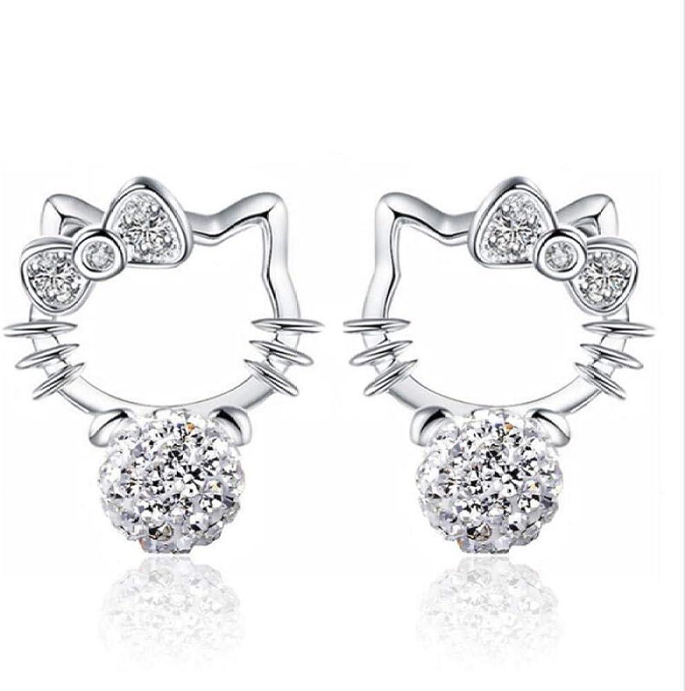 PendienteLovely Cat Stud Pendientes para mujer 925 pendientes de perlas de cristal de plata esterlina