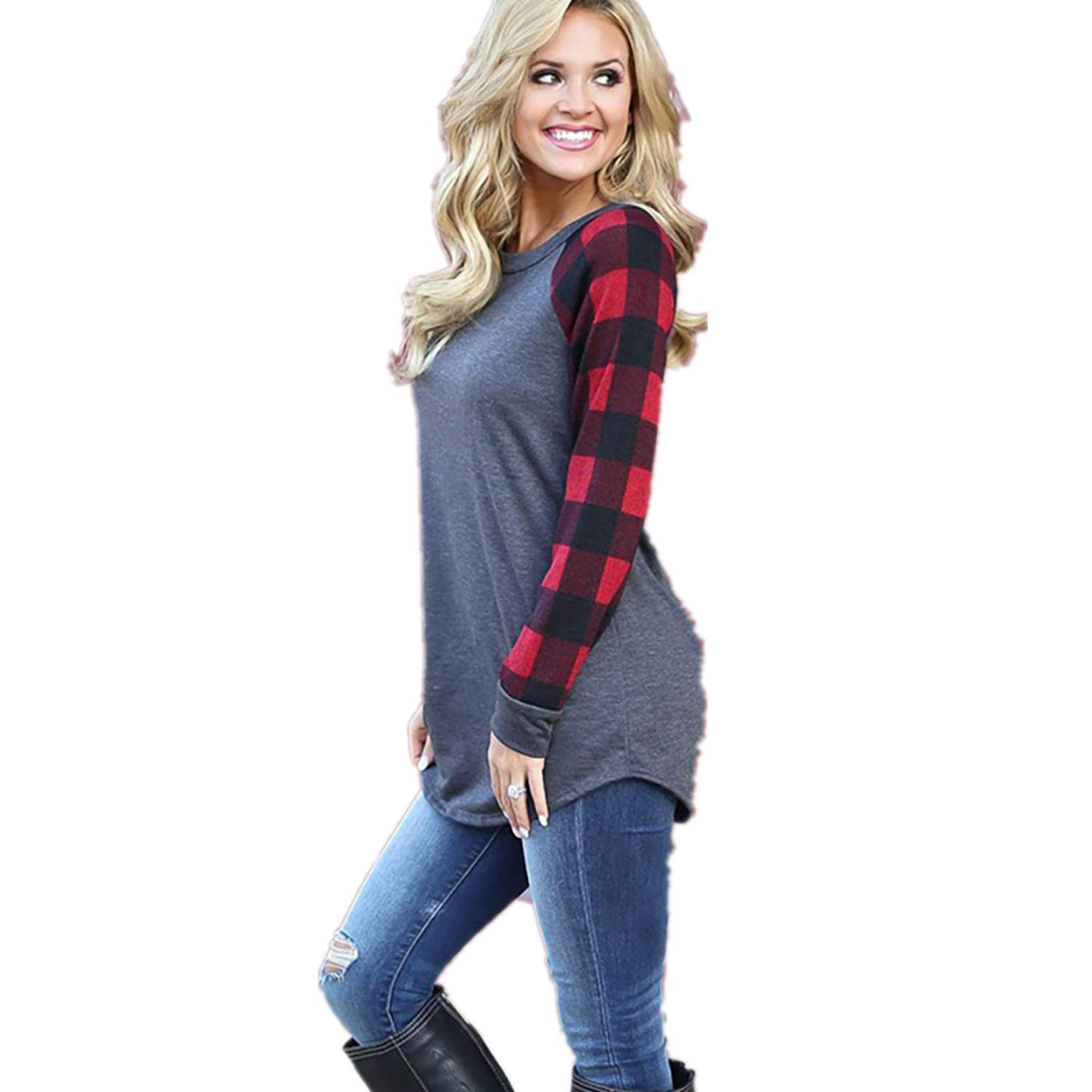 Women's Color Block Casual Loose Tops Tunics Long Sleeve Shirts Scoop Neck Blouse Red by Xmasdeer