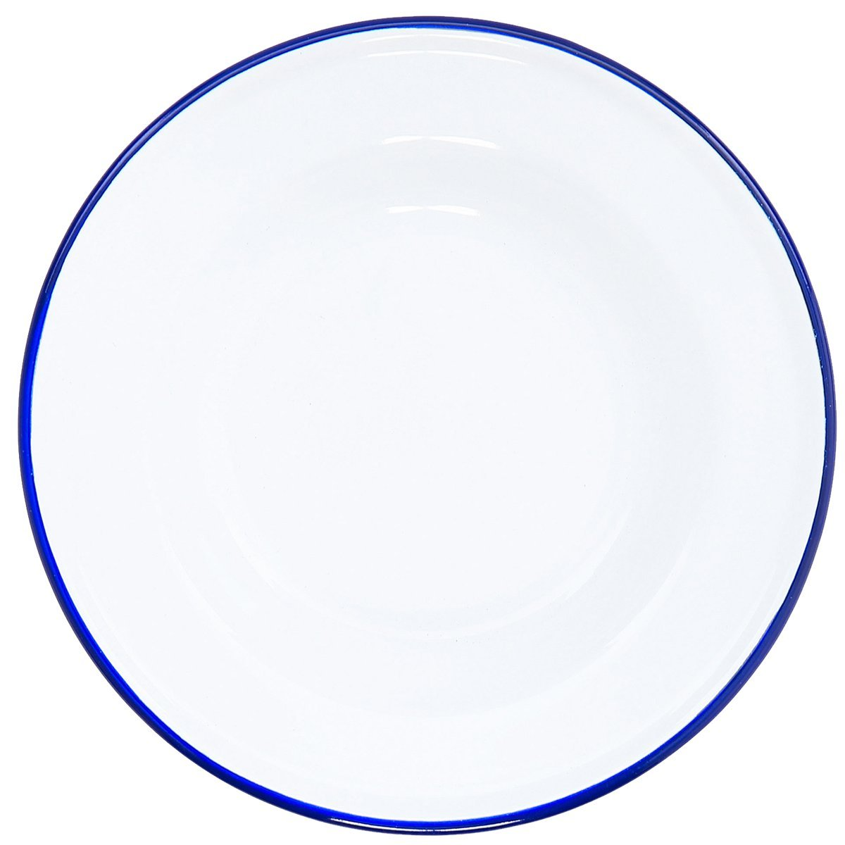 Crow Canyon Enamelware - Raised Salad Plate - Solid White with Blue Rim