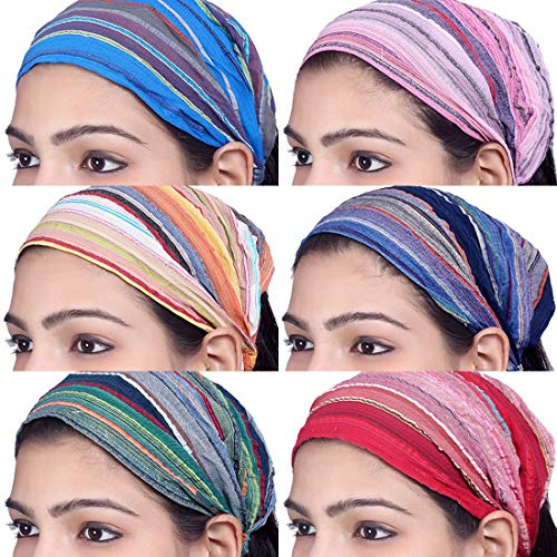 Sarjana Handicrafts Lot 10 Pieces Womens Mens Cotton Headband Striped Hairband Bandana Wrap Band (Multicolored (Assorted))