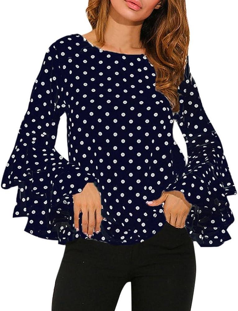 Fossen Mujer Blusas de Manga Larga Volantes Trompeta Punto de Ola Camisetas Oferta Gasa Camisa de Mujer Elegantes de Fiesta (S, Azul): Amazon.es: Ropa y accesorios