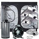 TopoLite Grow Tent Complete Kit Indoor GrowIng Syetem 120''x60''x80'' Dark Room+8''Filter Combo+2x Grow Light Kit (DE1000W Enclosed Plus Kit)
