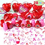 Toys : 28 Packs Kids Valentine Stampers Set includes 28 Valentine's Day Stampers Filled Hearts and Valentine's Day Cards for Classroom Exchange, Kids Stampers for Gift Exchange, Game Prizes and Carnivals Gift