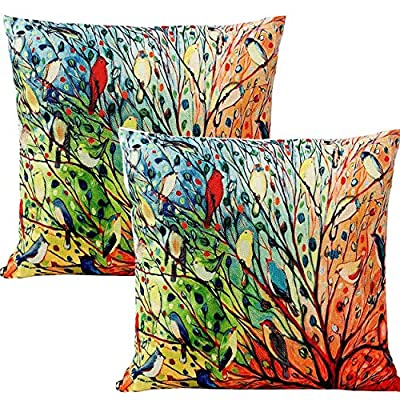 Unibedding Outdoor Bird Pillows Decorative Throw Pillows Case, Spring Oil Painting Cushion Covers Cotton Linen 18 x 18 Set of 2 Patio Couch Sofa - 🌈Great Christmas Decor: Birds on tree branch pillow, splash of colors pillows will add holiday atmosphere to your home, great for sofa, couch, bench, chair, patio, Christmas Thanks Giving Decor 🌈Pillow Cover Only: This bird pillows 18 x 18 inch for 16 x 16,18 x 18 inch. Note: our bird pillow case not include the pillow inserts. You can search the pillow inserts in our store or Amazon and please fold the pillow inserts in half to put inside. 🌈Oil Painting Outdoor Pillows: 2 x decorative bird throw pillow. Vivid thousands birds pattern, prefect for holiday home decoration or christmas gift for family. - patio, outdoor-throw-pillows, outdoor-decor - 613Uu9A9iRL. SS400  -