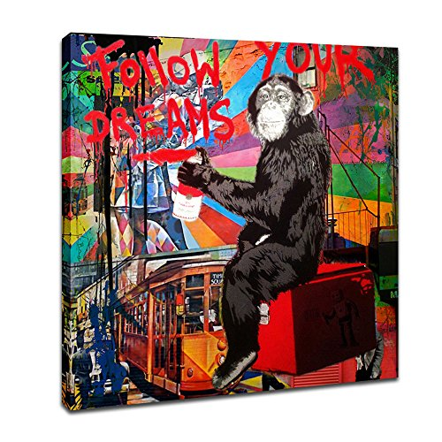 DUNHUANGART Framed Canvas Painting Graffiti Monkey Follow Your Dreams Art Wall Picture Animal Street Artwork for Living Room Decor Ready to Hang 1 (Monkey Art)