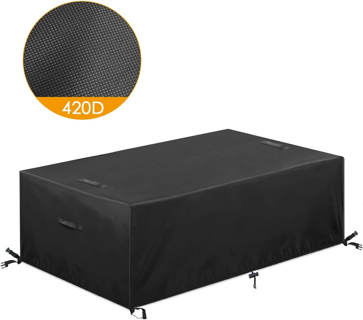 ESSORT Patio Furniture Covers, 420D Extra Large Outdoor Furniture Set Covers Waterproof, Rain Snow Dust Wind-Proof, Anti-UV, Fits for 6-8 Seats