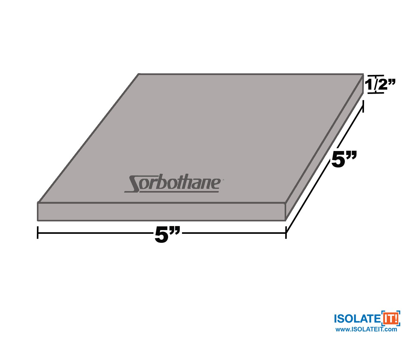 Isolate It: Sorbothane Vibration Isolation Square Pad 50 Duro (.50'' Thick 5'' x 5'') 2-Pack by Isolate It! (Image #4)