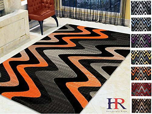 Porcello Waves (Handcraft Rugs Electric Orange/Gray/Silver/Black/Abstract Area Rug Modern Contemporary Zigzag Crisscross Wave Design)