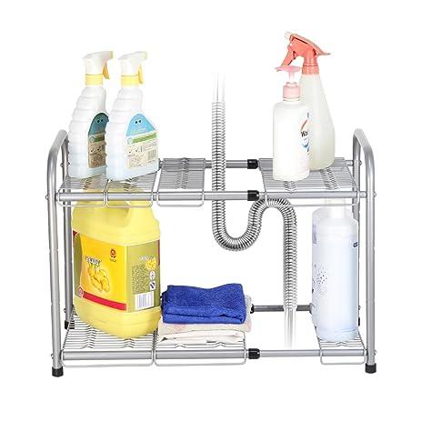 NEX 2 Tier Under Sink Shelf Organizer Under Sink Storage Rack, Flexible U0026  Expandable