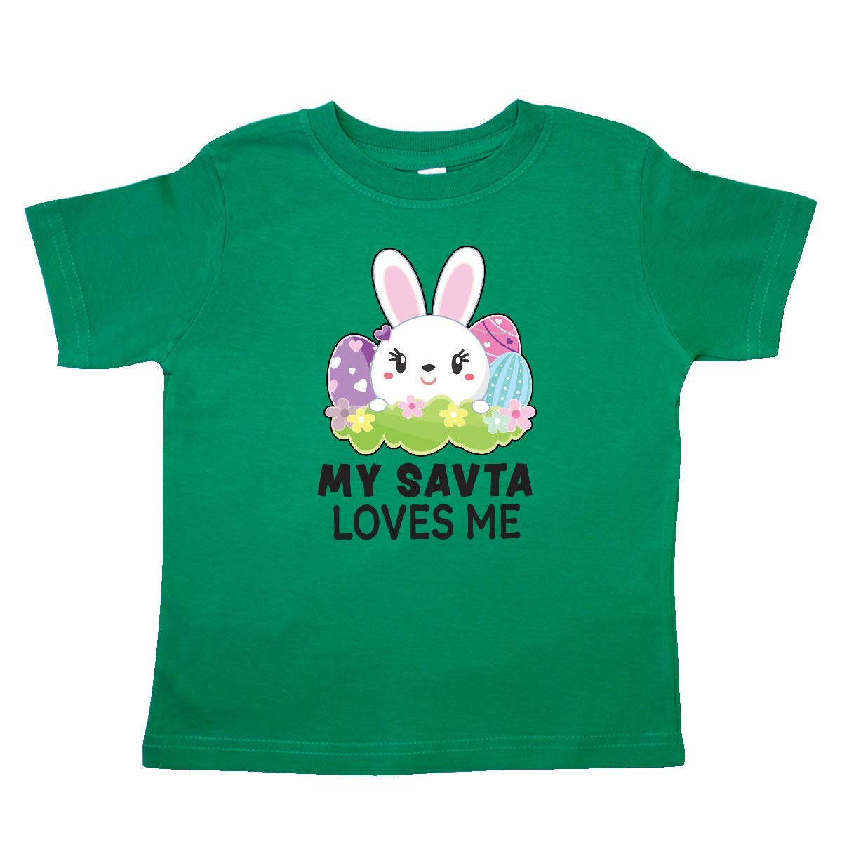 inktastic My SAVTA Loves Me with Bunny and Easter Eggs Toddler T-Shirt