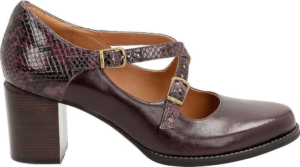 Clarks Presley Zapatos Piel Morado Vestir Tarah Para De Mujer c1FKlJu3T