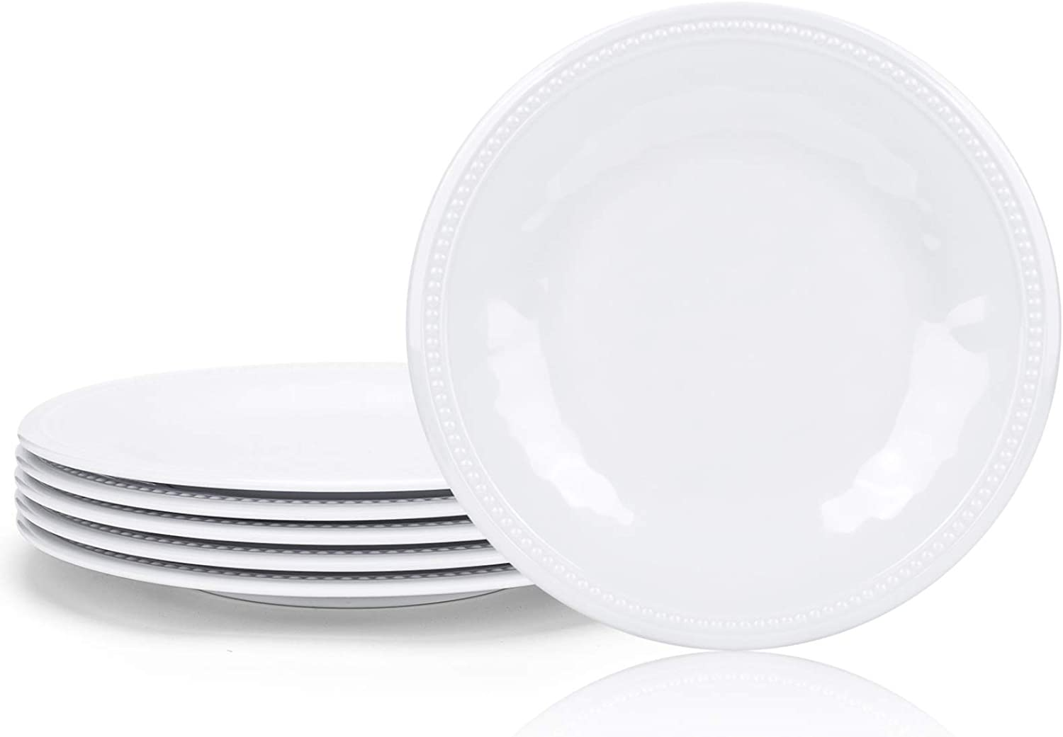 Melamine Plates set of 6, 11-inches Dinner Plates Set for Indoor and Outdoor Use, White