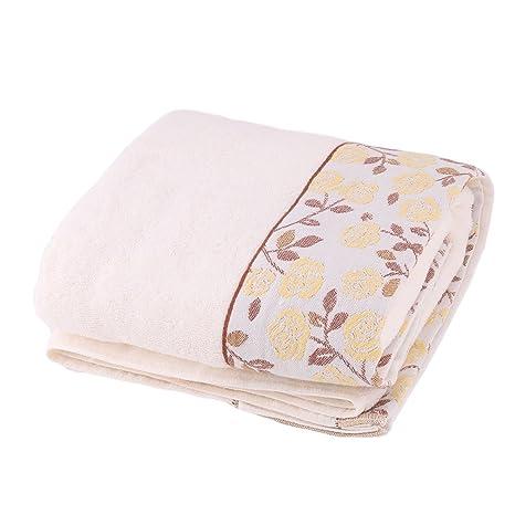 sourcing map Sourcingmap KUTTO Autorizado Hotel Mezclas de algodón del patrón de Rosa Secado Toalla de