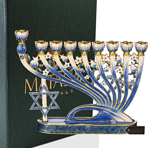 Matashi Hand Painted Enamel Menorah Candelabra Embellished with Gold Accents and Crystals (Modern Flow & Star of David Design)