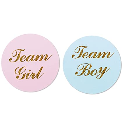 amazon com 80 pack 2 gold gender reveal stickers team boy and