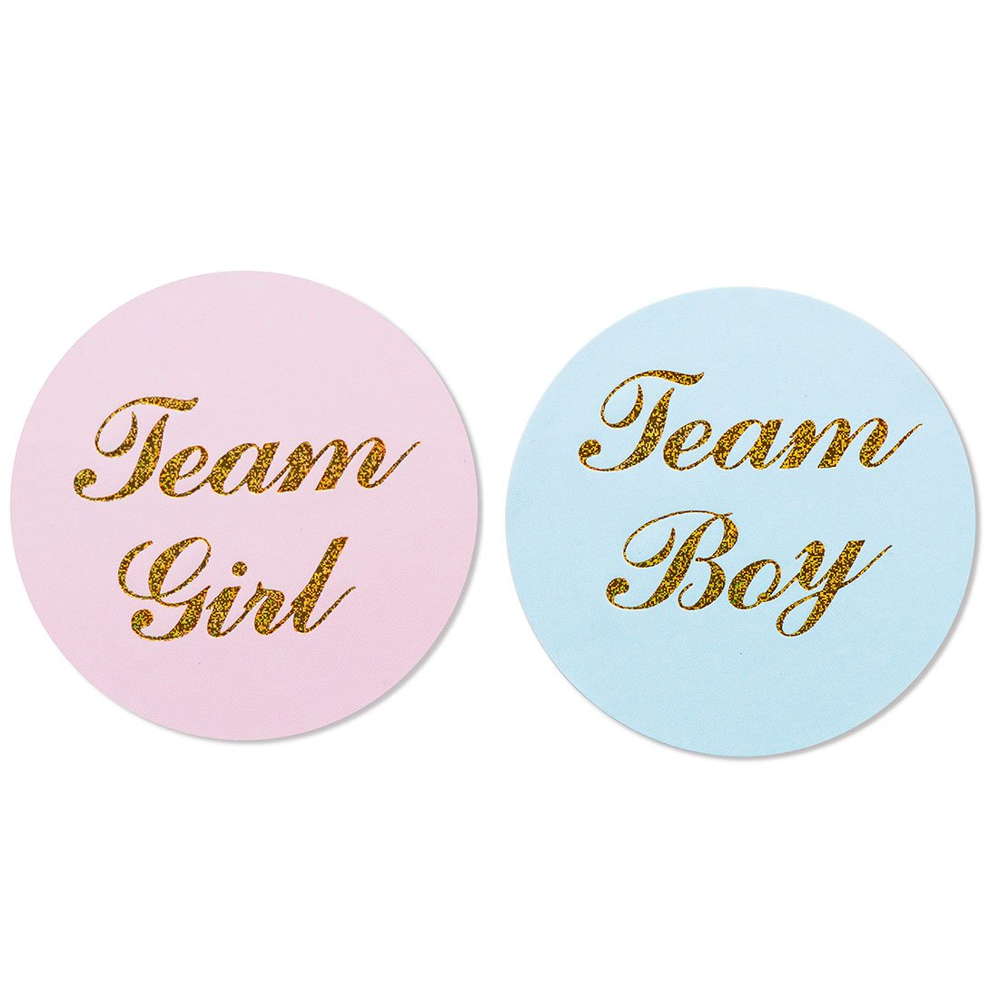 "MAGJUCHE 80-Pack, 2"" Gold Gender Reveal Stickers, Team boy and Team Girl Baby Shower Sticker Labels"