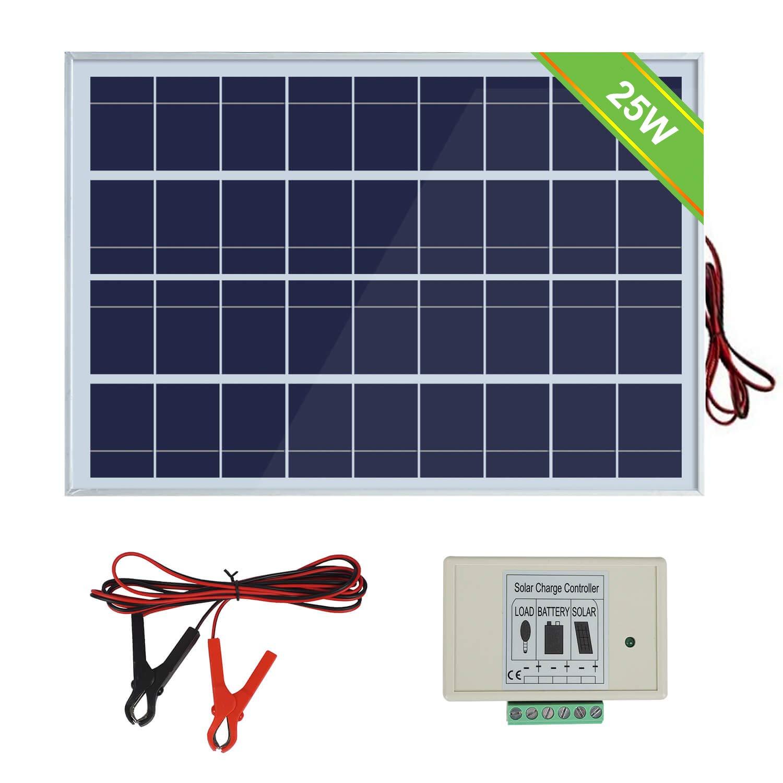 ECO-WORTHY Sistema de panel solar 12V 25W: Panel fotovoltaico policristalino de 1pc 25W con 3 cables y clips de batería 30A con cable de extensión de 6 pies y módulo solar de 3A 12V / 24V