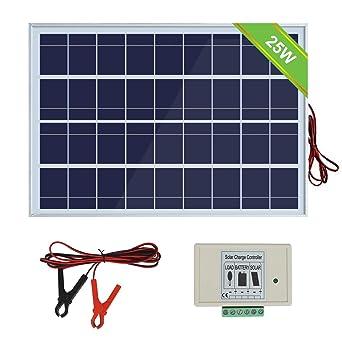 ECOWORTHY Sistema de panel solar 12V 25W: Panel fotovoltaico policristalino de 1pc 25W con 3 cables y clips de batería 30A con cable de extensión de 6 ...