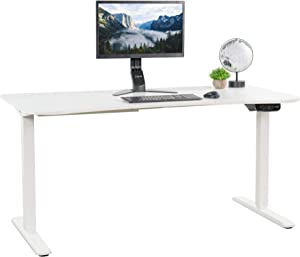 VIVO White Electric Height Adjustable Stand Up Desk Frame, Workstation with 63 x 32 inch Table Top and Controller, Frame and Desktop Combo (DESK-KIT-2E1W)
