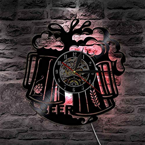 Wall Clock 1Piece Beer Time Vinyl Record Wall Clock Pub Bar Tavern Bartender Brew Brewery Modern Wall Clock Cheers Alcohol Liquor Ale Drink