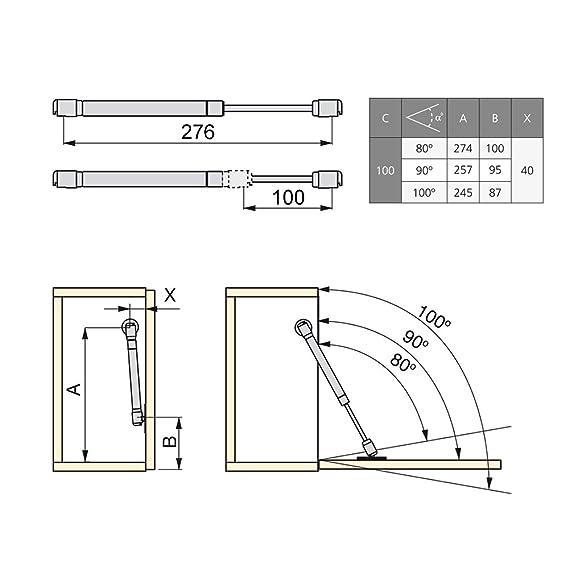 Pistón para muebles con puertas abatibles Emuca con fuerza 12 kg y recorrido 100