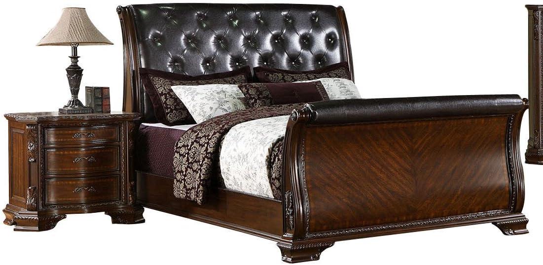 Truax Brown Cherry Sleigh Queen Bed
