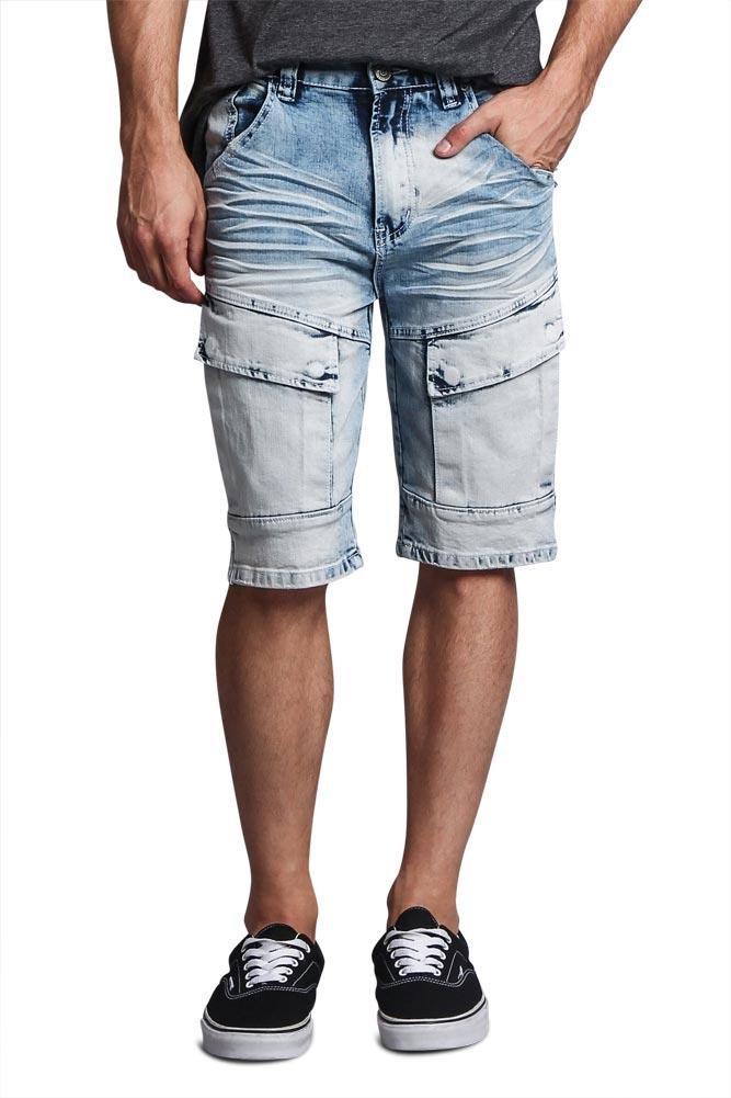 G-Style USA Whiskered Wash Front Cargo Pocket Bleach Acid Wash Denim Jean Shorts DS2016 - Light Indigo - 38 - FF1E