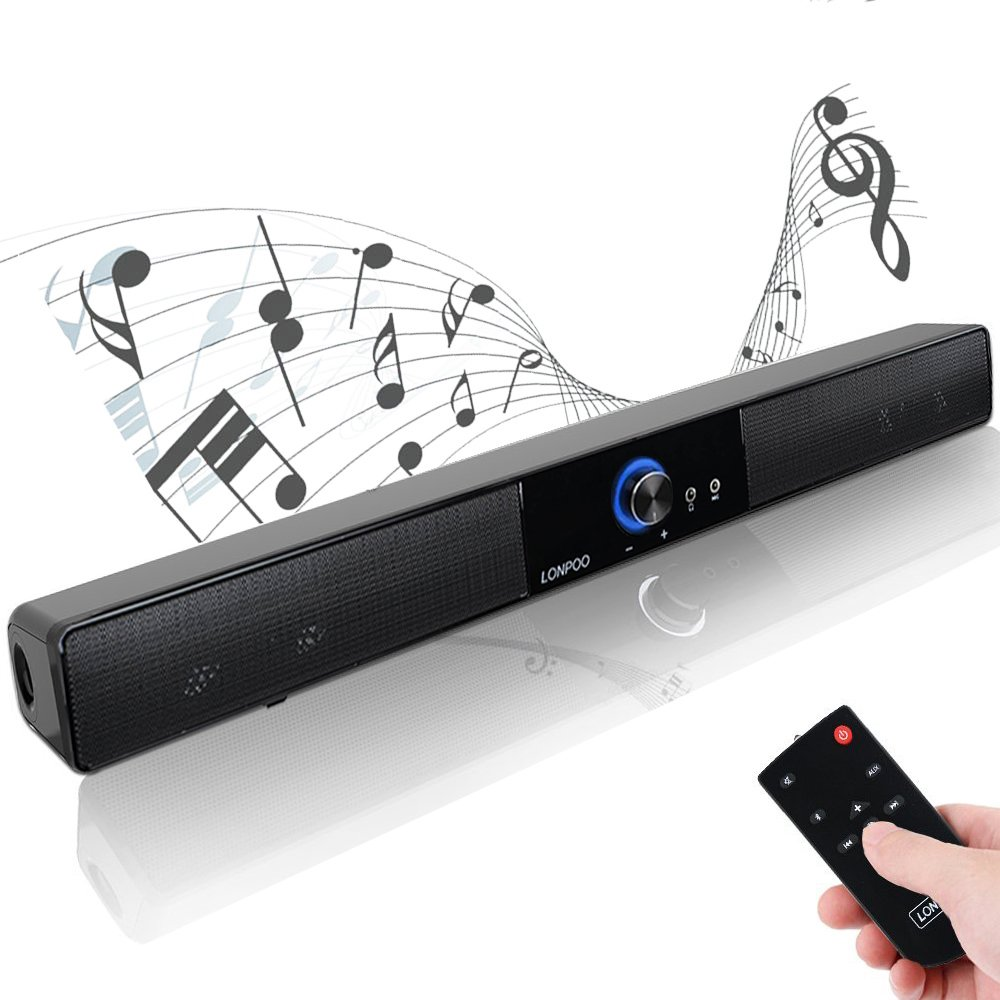 LONPOO 20'' USB Powered PC Soundbar Bluetooth Stereo 10W Speakers 40mm*4 Drivers Support Mic and Earphone Output for PC, Smartphones, Small TV, Portable Audio Players(Include Remote) longping LP-700A