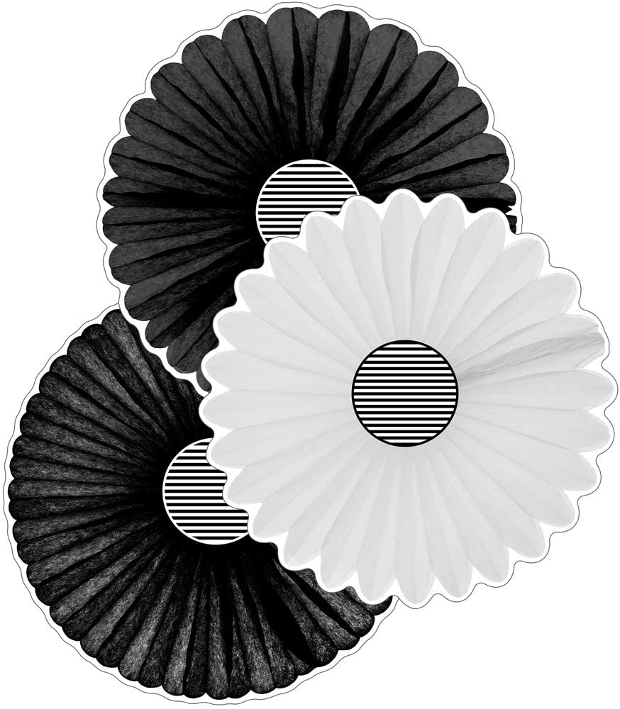 Schoolgirl Style Simply Boho Fans Cut-Outs—Extra large, Assorted Black and White Paper Fans, Bulletin Board Decorations for Classroom or Homeschool (12 pc)