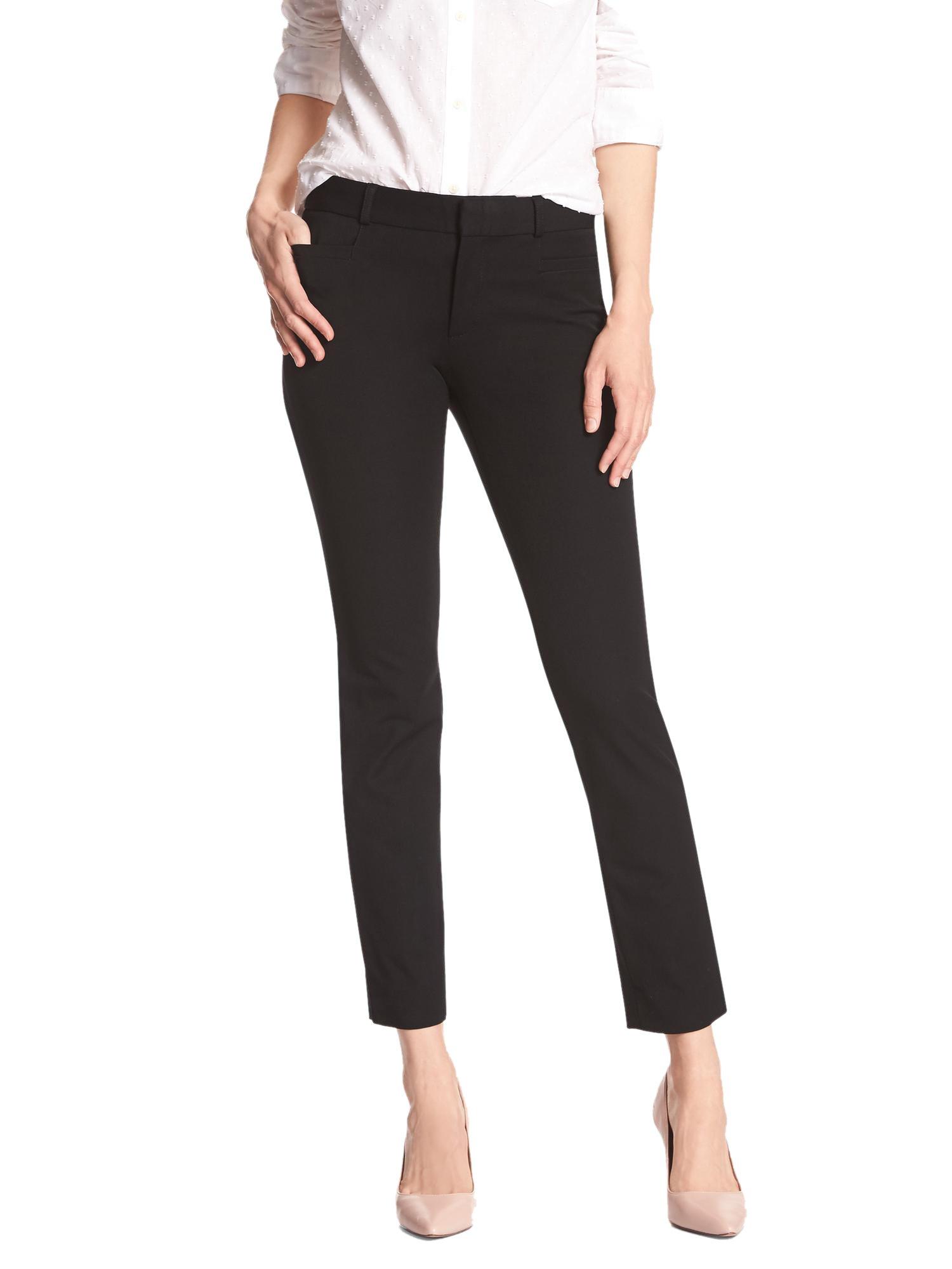 Banana Republic Women's Sloan Fit Twill Slim Ankle Cropped Pants Black 10