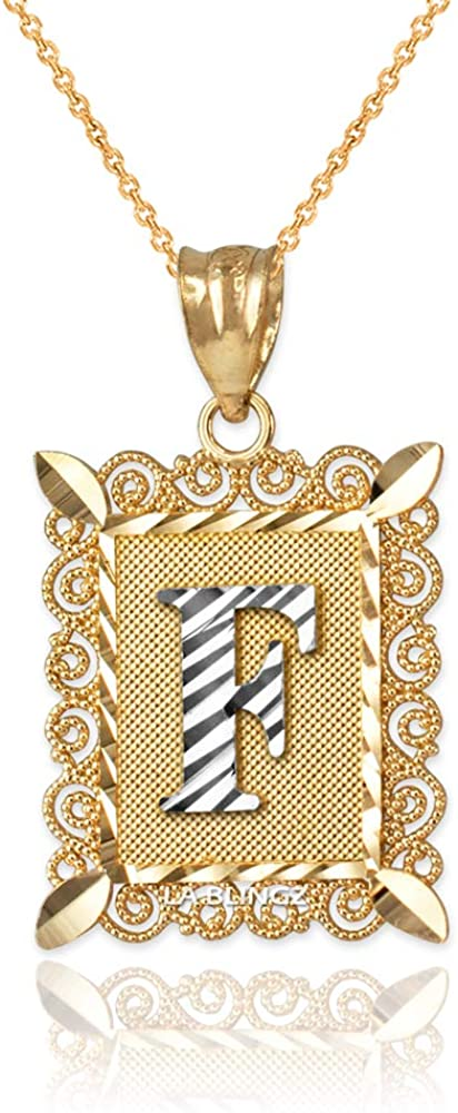 LA BLINGZ 14K Yellow Gold Filigree Alphabet Initial Letter F DC Pendant Necklace