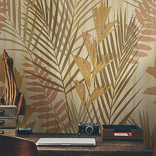 76 sq.ft Rolls Portofino Italian Luxury wallcovering Modern Textures Embossed Vinyl Wallpaper Yellow Gold Metallic Floral Tropical Trees Plants Palm Olive Green Leaves 3D Textured Wall coverings roll