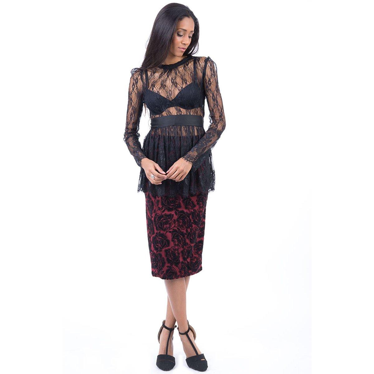 Stylish Fashion - Falda - para mujer rojo granate 38: Amazon.es ...