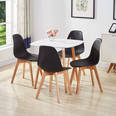 Awe Inspiring Goldfan White Dining Table With 4 Black Chairs Modern Wood Dinner Table Chairs With Solid Wood Legs For Dining Room Kitchen Furniture Unemploymentrelief Wooden Chair Designs For Living Room Unemploymentrelieforg