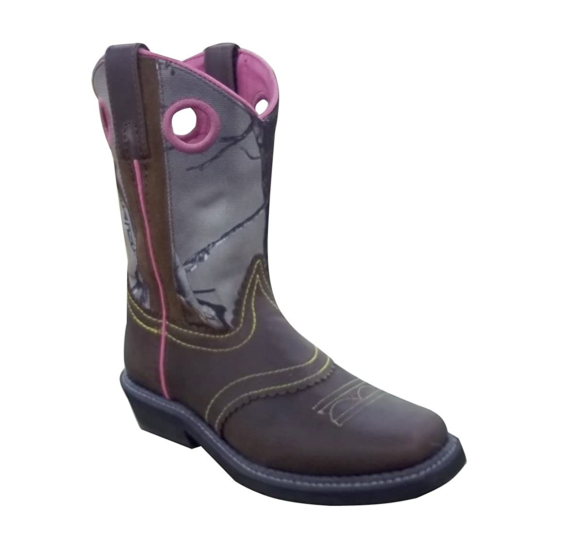 Smoky Mountain Boots-3351C Pawnee Square Toe-Brown//Camo with Pink Trim.