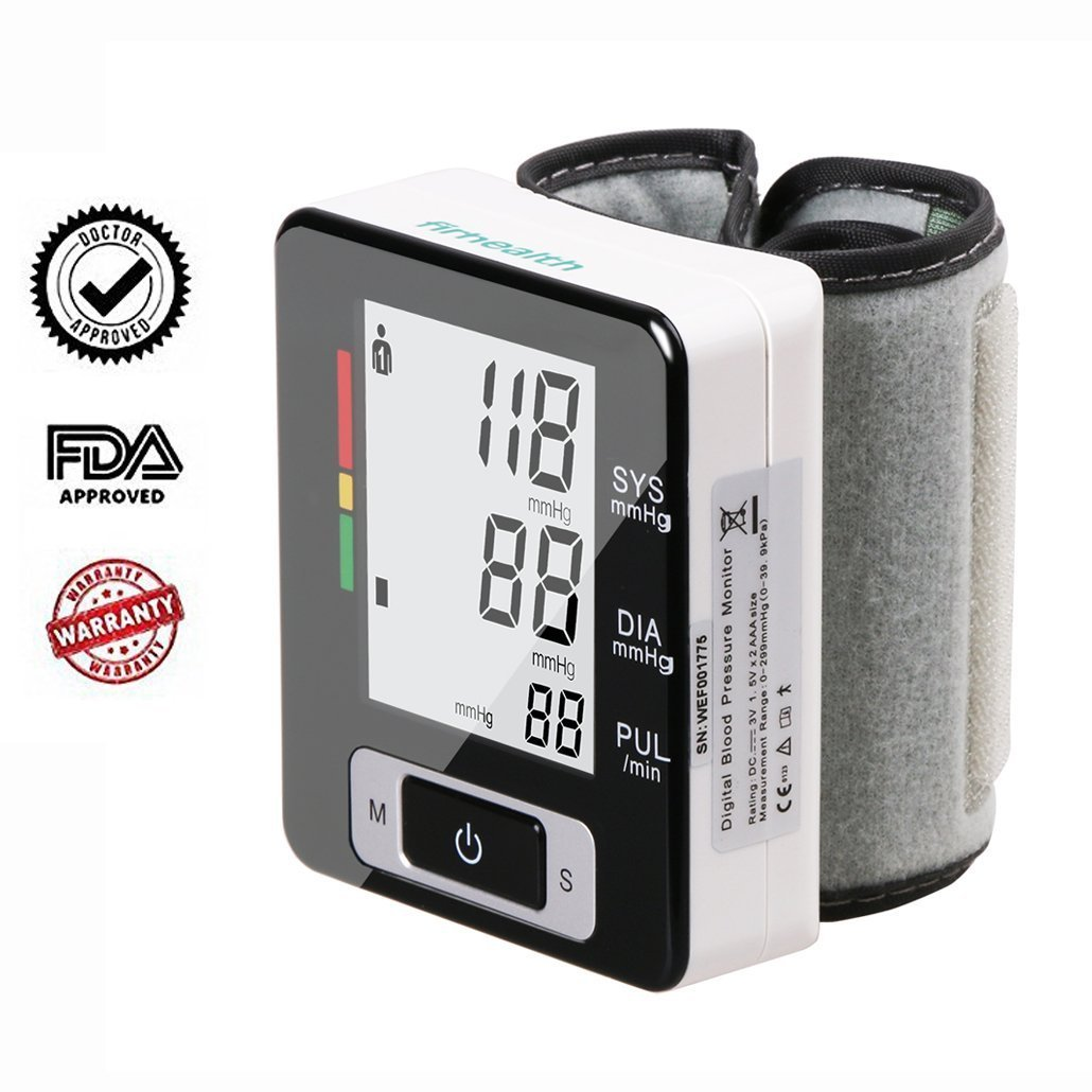 Firhealth Blood Pressure Monitor FDA Approved with Automatic Digital Wrist Monitor Cuff, 2 x 90 Memory Recalls, IHB Indicator, Portable Case Perfect for Home Use