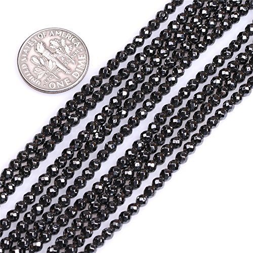 Natural Round Faceted Black Hematite Healing Stone Seed Spacer Beads for Jewelry Making 15'' (3mm) ()