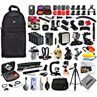Opteka 4x Batteries + 128GB Memory + WiFi Remote + Filters + Skeleton Housing + Microphone + X-Grip + LED Light + Car Mount + Travel Case + Selfie Stick + More For GoPro Hero4 Cameras