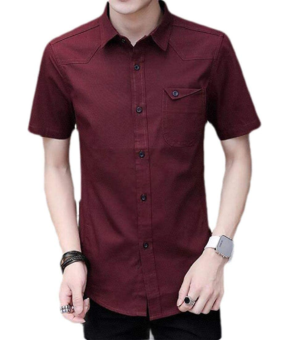 Domple Men Lightweight Short Sleeve Oxford Casual Button Up Shirt with Pockets