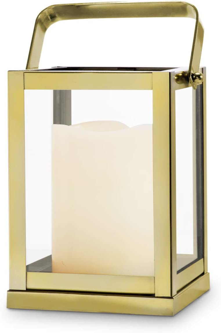 Gold Lantern Candle Holder Centerpiece 9 Tall Glass Paneled Geometric Square Shape Decorative Lantern For Wedding Decor And Table Decoration Kitchen Dining