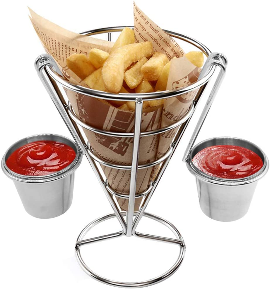 French Fries Stand Cone Basket Fry Holder with 2 Dip Dishes Cone Snack Fried Chicken Display Rack Food Shelves Bowl Halloween Party Supplies Kitchen Potato Fry Chips(2 Sauce Cups)